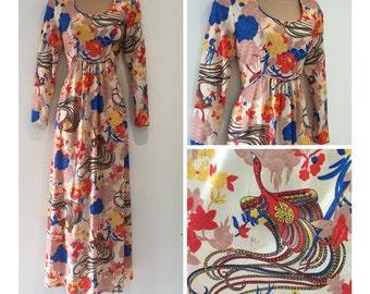 Vintage 70s size 8 Cream Red Blue Yellow Floral & Exotic Bird Print Boho Maxi Dress