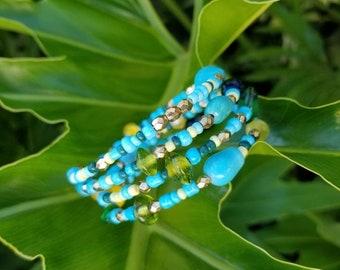Aztec Beaded Memory Wire Bracelet