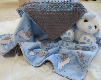 Baby Blanket, Baby Boy Blanket Personalized, SMD Dream  Baby Blue Boy Blanket, Baby Gift, Baby Shower Gift, Minky Baby Blankets