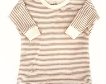 Toddler baby girl apres ski tunic tshirt dress in avocado-rust micro stripe organic cotton