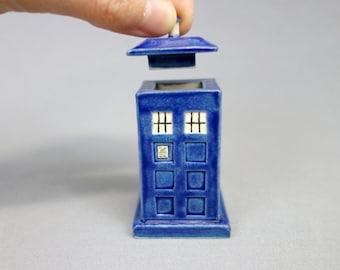 Tardis Figurine Lidded Box - Mini Ceramic Blue Police Box Container, Tiny Urn