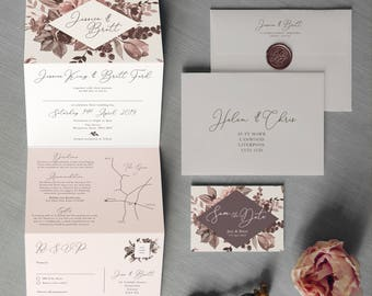 Belle - Concertina Wedding Invitations and Save the Date. Wildflower wreath & berry invite. Blush pink and grey rustic wedding invitation