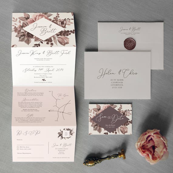 Size Wedding Invitation: Belle Concertina Wedding Invitations And Save The Date