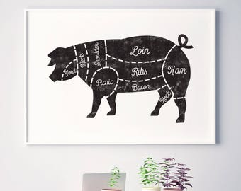 Butcher chart, Kitchen art, butcher prints, pig butcher chart, pork cuts, butcher printable, pig, horizontal frame, black and white kitchen