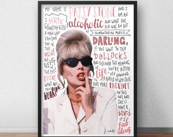 Patsy Stone print / poster hand drawn typography quotes absolutely fabulous print / poster