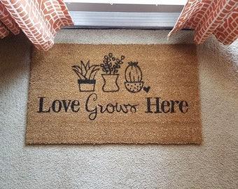 Love Grows Here Doormat   Plant Decor   Aloe   Succulent   Funny Decor   Fun Welcome Mat   Gardening Decor   Aloe There Door Mat   Plants