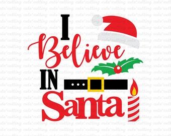 Christmas svg, Believe svg, I Believe santa svg dxf jpeg cutting files for Silhouette Cameo, Portrait, Curio, Cricut