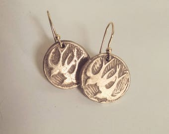 Love Birds. Gold Bronze Barn Swallows/Sparrows in Flight Handcrafted Unique Recycled Bronze Earrings.