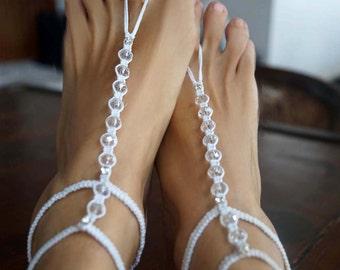 Crystal Wedding Barefoot Sandals, Bridal Sandals, Gladiator Barefoot Sandals, Beach Wedding Anklet, 1 Pair