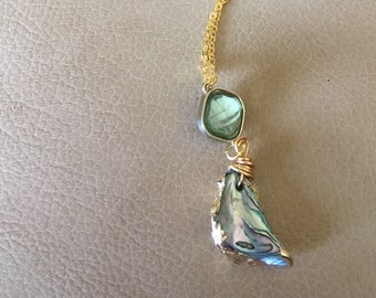 Abalone pendant on gold chain