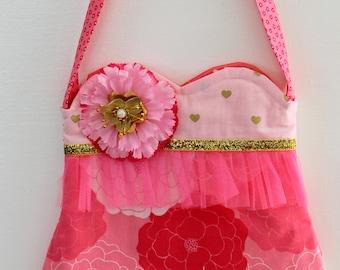 Pinky Flower  purse, girls purse, toddler purse,