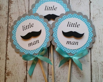 Mustache Baby Shower Decorations - Mustache Centerpiece - Gender Reveal Party Decor - Mustache Bash - Little Man Baby Shower