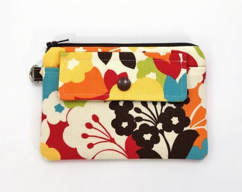 Floral coin pouch - colorful flower print fabric purses - small zipper pouch - keychain zip pouch - mini snap wallet pouch - gifts for women