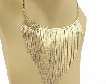 21673 - Vintage 14k Two Tone Gold Snake Chain Fringe Choker Necklace