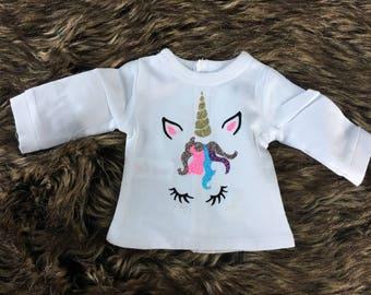 Unicorn Doll Shirt for 18 inch doll