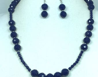 Blue and Silver Necklace Earrings Set - Blue Silver Jewelry Set - Jewelry Set
