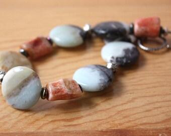 Colorful Amazonite and Coral Gemstone Bracelet, Chunky Amazonite Fashion Bracelet, Rainbow Stones and Silver Bracelet