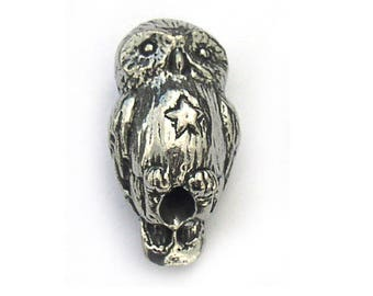 Barn Owl Pewter Beads Green Girl Studios
