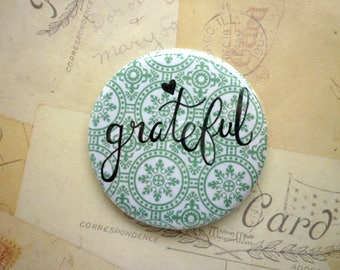 Pocket Mirror - Grateful - Green - Hand Lettering, Quote.