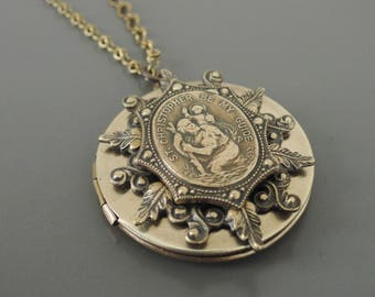Vintage Necklace - Locket Necklace - Saint Christopher Necklace - Brass Necklace - Religious Necklace - Catholic Necklace - handmade