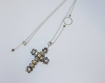Necklace Crystal cross, Pendant Cross Necklace, Silver chain, crystal clear cross, beaded cross crystal, Mother's Day Gift, Special Gift