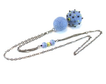 Blue Felted Necklace Pendant. Felt Jewelry Merino Wool. Y long Necklace. Statement necklace.