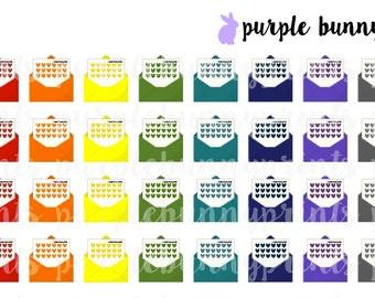 Rainbow Happy Mail Envelopes // Planner Stickers!