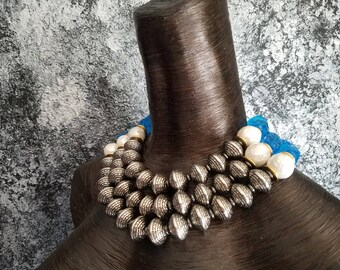 Dramatic Bold Chunky Statement Necklace KATROX Socialite Necklace Tibetan Bead Business Professional Conservative Blue Quartz Bib Hamptons