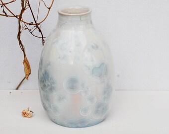 White crystalline pottery vase, unique crystalline glaze, crystalline stoneware vase for flowers,  white ceramic vase, pottery home decor.