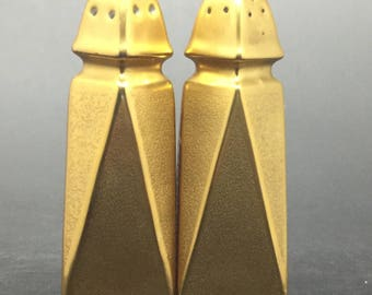 Vintage Art Deco Pickard Gold Salt and Pepper Shakers