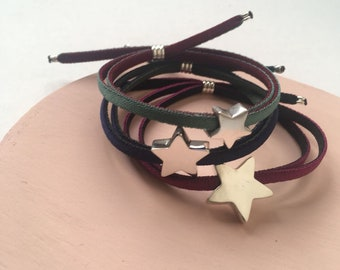 Sets of Personalized Sterling Silver Star Bracelets with Stretch Cord for Mother and Daughter