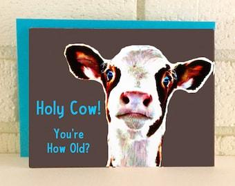 Cow Farm Birthday Card Funny