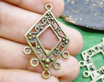 10  Bronze Earrings Settings - Jewelry Links - Bronze Connectors - Jewelry Making Components -EF024