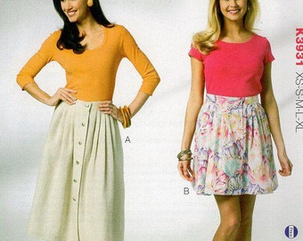 Free Us Ship Sewing Pattern Kwik Sew 3931 Front Button Side Pocket Skirt XS-XL Hips 32.5 to 47 inches Plus size 2012 Out of Print