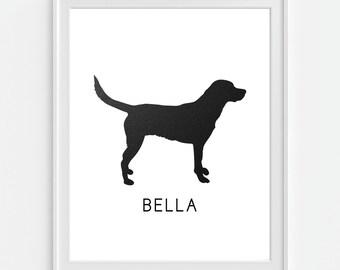Dog Art Print, Labrador Retriever Breed, Personalized Dog Print, Pet Art 5x7, 8X10, 11x14 Faux Leather, Black Lab, Pet Print