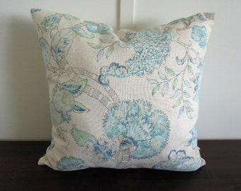 Aqua Pillow Cover, Blue, Green Gray, Turquoise, 20x20, Botanical Pillow Cover, Natural Bedding, Floral Pillow, Accent Pillow, Kravet