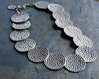 Silver Disc Necklace Bohemian Jewelry Tribal Necklace