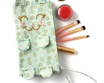 Kitten Clutch / Clementine. Light blue country floral wristlet. Little blue bag. Cat purse. Cat mom gift. Bestie gift ideas.
