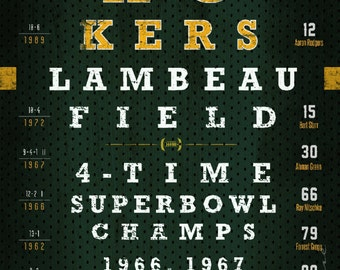 Green Bay Packers Eye Chart - Super Bowl Seasons - Wedding, Graduation, Birthday, Anniversary or Christmas Gift - Unframed Print