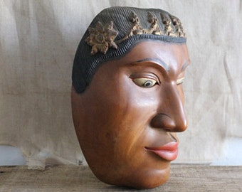 Vintage Mid Century Carved Wood Mask