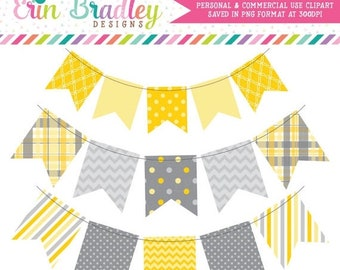 80% OFF SALE Yellow & Gray Bunting Clip Art Banner Flags Clipart Commercial Use
