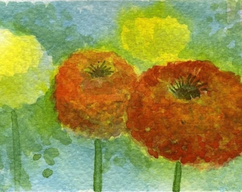 Watercolor Painting: Watercolor Flower Painting -- Mini Art Print -- Marigolds -- ACEO Print