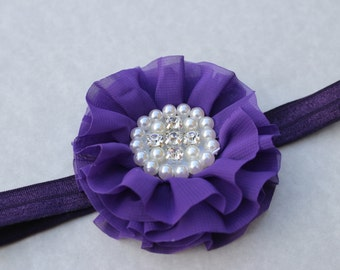 SALE purple headband flower girl headband dark purple headband toddler headband halloween headband Infant headband purple wedding headband