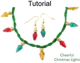 Beading Pattern Tutorial - Beaded Christmas Lights - Earrings Necklace Bracelet - Simple Bead Patterns - Cheerful Christmas Lights #28131