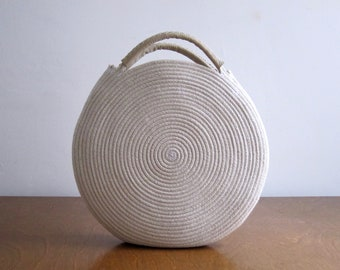 Round Basket Bag with White Leather Handles