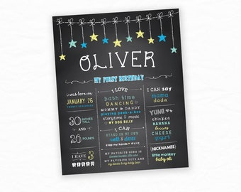 First Birthday Chalkboard Sign,  Printable Poster, Boy First Birthday, 1st Birthday, Milestone Board, Cake Smash Props, One Year Old Boy