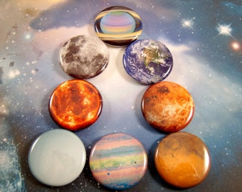Planet Magnets, Solar System Pins, Gift Set,  Planet Pins, Astronomy Magnets, Astronomy Pins
