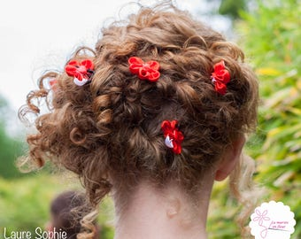 Red fabric flower hairpins