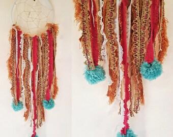 handmade Dreamcatcher- Made with Pink Antique Trim / Vintage Lace / Teal Pom Poms