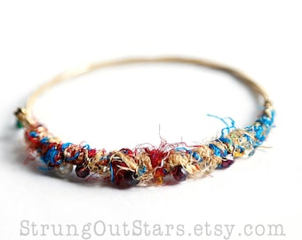 How Bazaar - Strung-Out guitar string bangle with silk yarn garnet citrine
